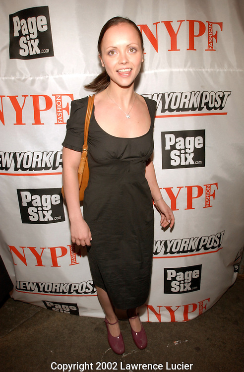 Actress Christina Ricci arrives at the launch party for the New York Post's first 20 page full-color fashion supplement February 7, 2002, in New York.  Sarah and Lachlan Murdoch hosted the party at the Mercer Kitchen in Soho..