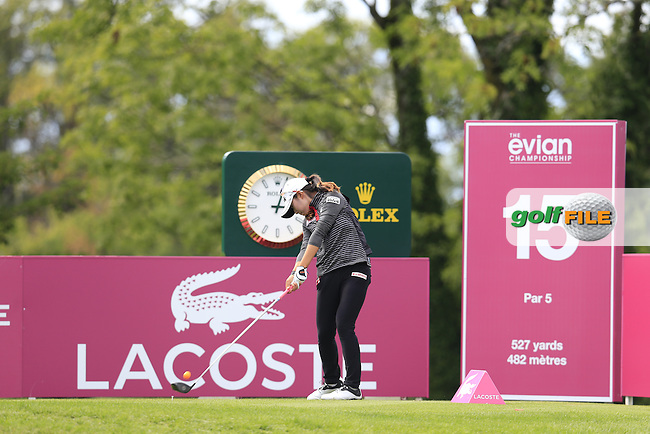 Mi Hyang Lee (KOR) tees off the 15th tee during Sunday's Final Round of the LPGA 2015 Evian Championship, held at the Evian Resort Golf Club, Evian les Bains, France. 13th September 2015.<br /> Picture Eoin Clarke | Golffile