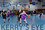 Kyle Buckley Scartaglen NS drives to the board but being well marshalled by Conor Clifford Galescoil Aogain during the Senior Boys NS Boys B final at the St Marys Basketball Blitz on Monday