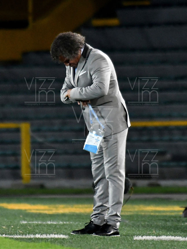 BOGOTÁ-COLOMBIA, 17–04-2019: Alberto Gamero, técnico de Deportes Tolima durante partido de la fecha 16 entre Millonarios y Deportes Tolima, por la Liga Águila I 2019, jugado en el estadio Nemesio Camacho El Campín de la ciudad de Bogotá. / Alberto Gamero, coach of Deportes Tolima during a match of the 16th date between Millonarios and Deportes Tolima, for the Aguila Leguaje I 2019 played at the Nemesio Camacho El Campin Stadium in Bogota city, Photo: VizzorImage / Luis Ramírez / Staff.