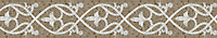 """7"""" Elegante border, a hand-cut mosaic shown in polished Driftwood and Calacatta by New Ravenna."""