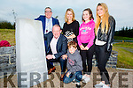 Legendary Irish and Munster rugby player and ex All Ireland winning footballer Mick Galwey and his family at the monument unveiled on the roundabout named after him in on the Castleisland by-pass on Friday evening