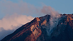 Summit detail of the steaming volcano Mount Ebulobo, near Boawae, central Flores, Indonesia