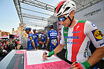 Italian Champion Elia Viviani (ITA) Deceuninck-Quick Step at sign on before Stage 11 of the 2019 Giro d'Italia, running 221km from Carpi to Novi Ligure, Italy. 22nd May 2019<br /> Picture: Massimo Paolone/LaPresse | Cyclefile<br /> <br /> All photos usage must carry mandatory copyright credit (© Cyclefile | Massimo Paolone/LaPresse)