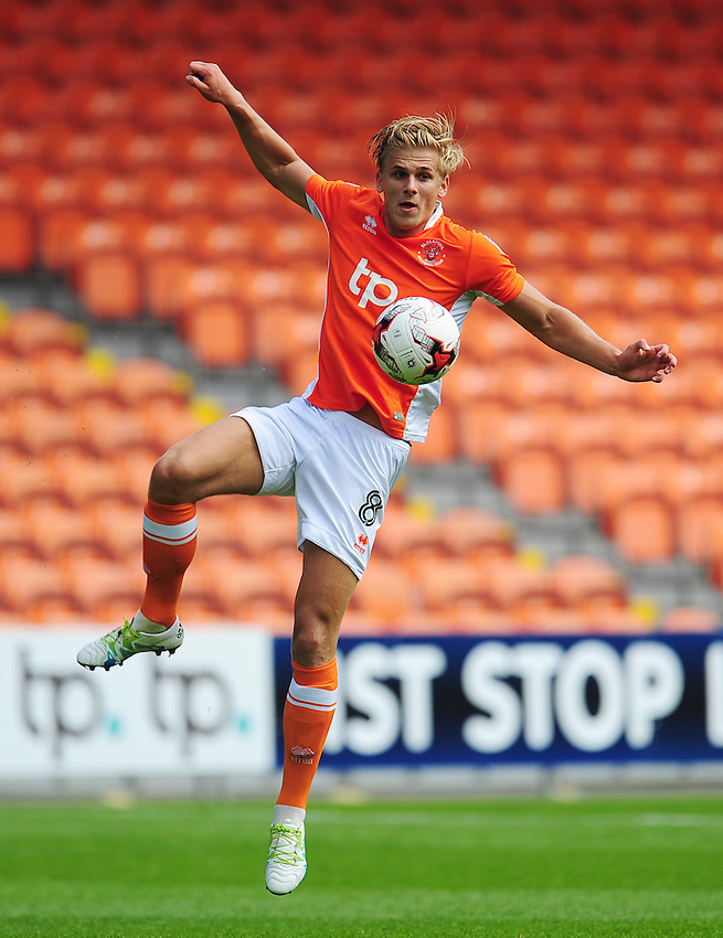 Blackpool's Brad Potts<br /> <br /> Photographer Kevin Barnes/CameraSport<br /> <br /> Football - The EFL Sky Bet League Two - Blackpool v Exeter City - Saturday 6th August 2016 - Bloomfield Road - Blackpool<br /> <br /> World Copyright &copy; 2016 CameraSport. All rights reserved. 43 Linden Ave. Countesthorpe. Leicester. England. LE8 5PG - Tel: +44 (0) 116 277 4147 - admin@camerasport.com - www.camerasport.com