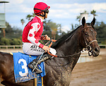 ARCADIA, CA MARCH 3: #3 Midnight Bisou with Mike Smith after capturing the Santa Ysabel Stakes (Grade III) on March 3, 2018 at Santa Anita Park in Arcadia, CA (Photo by Chris Crestik/ Eclipse Sportswire/ Getty Images)