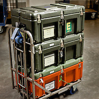 A trolly loaded with document containers, called 'cantines', at the European Parliament. The cantines are used to transport documents between European Parliament sites in Brussels, Strasbourg and Luxembourg. Every month thousands of parliament's employees travel back and forth between the towns, with their documents following them.
