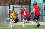 Los Angeles, CA 02/15/14 - Ryan Kreston (USC #3), Daniel Maxwell (Utah #10) and Kelbie Ockey (Utah #14) in action during the Utah versus USC game as part of the 2014 Pac-12 Shootout at UCLA.  Utah defeated USC 10-9.