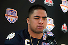 Jan 5, 2013; Linebacker Manti Te'o answers questions from members of the press during Media Day at the the Sun Life Stadium in Miami, Florida. Notre Dame will be squaring off against the Alabama Crimson Tide in the 2013 BCS National Championship Monday night. Photo by Barbara Johnston/University of Notre Dame..
