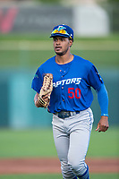 Ogden Raptors left fielder Daniel Robinson (50) jogs off the field between innings of a Pioneer League game against the Orem Owlz at Home of the OWLZ on August 24, 2018 in Orem, Utah. The Ogden Raptors defeated the Orem Owlz by a score of 13-5. (Zachary Lucy/Four Seam Images)