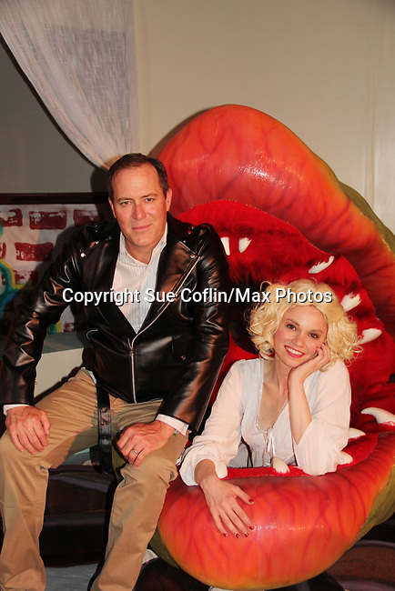 """Guiding Light's Mandy Bruno and Robert Bogue and Audrey II star in Lilttle Shop of Horrors The Musical on May 27, 2018 presented by CaPAA at the Ritz Theater in Scranton, PA. Mandy is """"Audrey"""", Robert is """"Orian, Berstein, Luce, Snip, Martin"""" and Kelly is """"Seymour"""". Mandy is also the director, set designer, video projection production, props and costumes. (Photo by Sue Coflin/Max Photo)"""