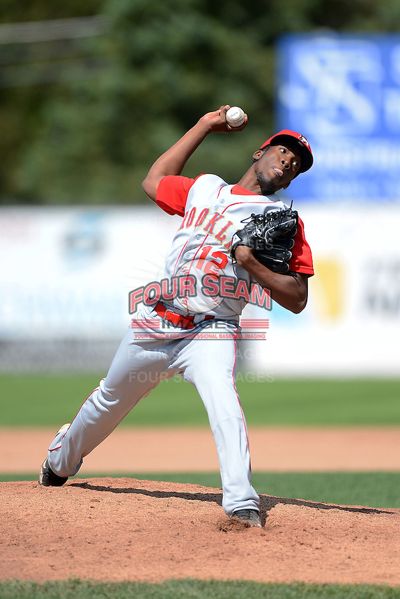 Brooklyn Cyclones pitcher Akeel Morris (12) during a game against the Jamestown Jammers on August 4, 2013 at Russell Diethrick Park in Jamestown, New York.  Jamestown defeated Brooklyn 9-5.  (Mike Janes/Four Seam Images)