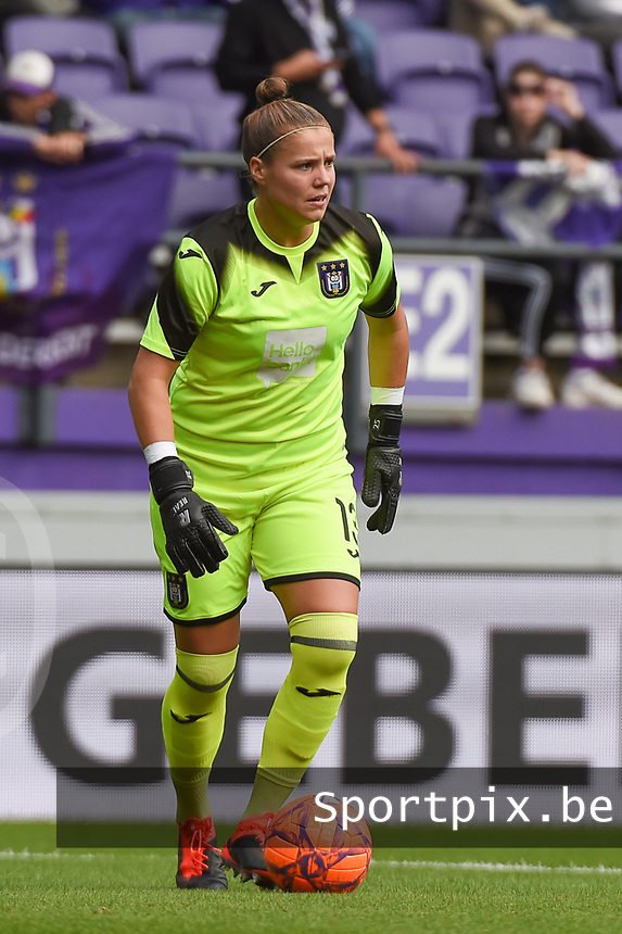 20190813 - ANDERLECHT, BELGIUM : Anderlecht's Justien Odeurs pictured during the female soccer game between the Belgian RSCA Ladies – Royal Sporting Club Anderlecht Dames  and the Northern Irish Linfield ladies FC , the third and final game for both teams in the Uefa Womens Champions League Qualifying round in group 8 , Tuesday 13 th August 2019 at the Lotto Park Stadium in Anderlecht  , Belgium  .  PHOTO SPORTPIX.BE | DIRK VUYLSTEKE