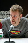 Brian Sell answers questions at a press conference following the 2008 Men's Olympic Trials Marathon on November 3, 2007 in New York, New York.  The race began at 50th Street and Fifth Avenue and finished in Central Park.  Ryan Hall won the race with a time of 2:09:02.