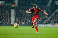 WEST BROMWICH, ENGLAND - FEBRUARY 11:  Neil Taylor of Swansea City  cross the ball  during the Premier League match between West Bromwich Albion and Swansea City at The Hawthorns on February 11, 2015 in West Bromwich, England. (Photo by Athena Pictures/Getty Images)