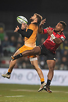 Jaguares' Ramiro Moyano and Crusaders' Sevu Reece go up for high ball during the 2019 Super Rugby final between the Crusaders and Jaguares at Orangetheory Stadium in Christchurch, New Zealand on Saturday, 6 July 2019. Photo: Joe Johnson / lintottphoto.co.nz