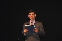 SAO PAULO, SP, 24 DE JULHO 2012 – Joao, representante do Banco do Brasil participa de Festival Anima Mundi em sessao de abertura para convidados no Memorial da America Latina, zona oeste de Sao Paulo, nesta noite de terca-feira. O festival internacional de animacao esta em sua 20ª edicao no pais e fica do dia 25 a 29 de julho. (FOTO: THAIS RIBEIRO / BRAZIL PHOTO PRESS).