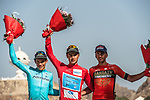 Alexey Lutsenko (KAZ) Astana Pro Team overall winner with team mate Miguel Angel Lopez Moreno (COL) 2nd overall and Gorka Izagirre (ESP) Bahrain-Merida 3rd overall after Stage 6 of the 2018 Tour of Oman running 135.5km from Al Mouj Muscat to Matrah Cornich. 18th February 2018.<br /> Picture: ASO/Muscat Municipality/Kare Dehlie Thorstad | Cyclefile<br /> <br /> <br /> All photos usage must carry mandatory copyright credit (&copy; Cyclefile | ASO/Muscat Municipality/Kare Dehlie Thorstad)