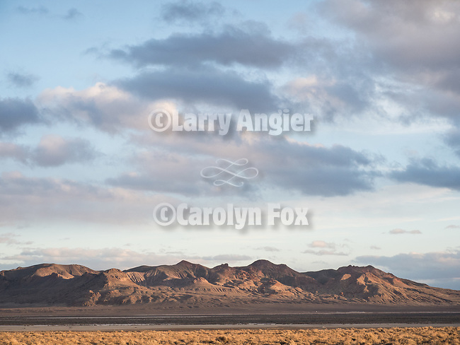 Light on the land along I-80 landscape during winter.<br /> <br /> Churchill County, Nevada