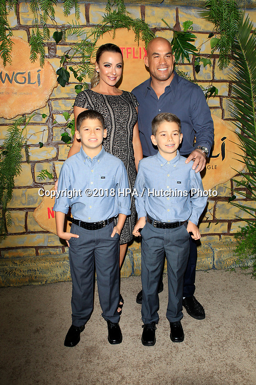 """LOS ANGELES - NOV 28:  Amber Nichole Miller, Tito Ortiz, his sons at the """"Mowgli: Legend of the Jungle"""" Premiere at the ArcLight Theater on November 28, 2018 in Los Angeles, CA"""