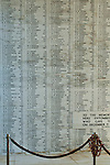 Wall of Names at the USS Arizona Memorial, Pearl Harbor, Oahu, Hawaii