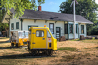 The restored McLean Train Depot on Route 66 now servers as a hobby shop specializing in model railroading.