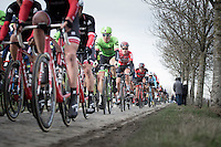 Sep Vanmarcke (BEL Cannondale-Drapac Pro Cycling Team) & Tiesj Benoot (BEL/Lotto-Soudal) during the 2nd passage Haaghoek, leading group<br /> <br /> 72nd Omloop Het Nieuwsblad 2017