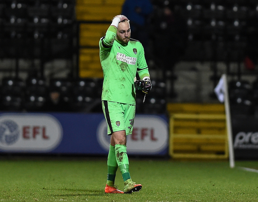 Notts County's Ross Fitzsimons walks back after being shown the red card by Referee Scott Oldham <br /> <br /> Photographer Jon Hobley/CameraSport<br /> <br /> The EFL Sky Bet League Two - Notts County v Crawley Town - Tuesday 23rd January 2018 - Meadow Lane - Nottingham<br /> <br /> World Copyright &copy; 2018 CameraSport. All rights reserved. 43 Linden Ave. Countesthorpe. Leicester. England. LE8 5PG - Tel: +44 (0) 116 277 4147 - admin@camerasport.com - www.camerasport.com
