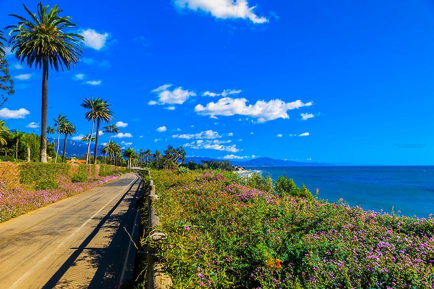 Scenic views along Channel Drive, Montecito (Santa Barbara), California USA.