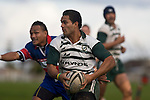 Lelia Masaga breaks through the Ardmore Marist midfield. Counties Manukau Premier Club Rugby game between Manurewa & Ardmore Marist, played at Mountfort Park Manurewa on Saturday June 21st 2008..Manurewa won 32 - 29.