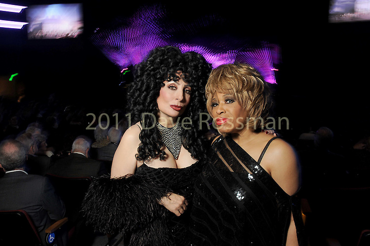 Heidi Thompson as Cher and Cookie Watkins as Tina Turner inside the arena at the grand-opening reception at the Smart Financial Centre in Sugar Land Saturday Jan. 14, 2017.(Dave Rossman photo)