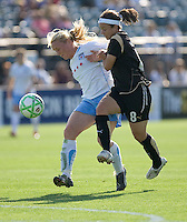 Frida Ostberg (left) and Tiffany Weimer (8) battle for the ball. FC Gold Pride and Chicago Red Stars tied 1-1 at Buck Shaw Stadium in Santa Clara, California on June 7, 2009.