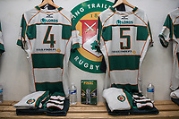 General view of shirts hanging up in the Ealing Trailfinders dressing room ahead of the British & Irish Cup Final match between Ealing Trailfinders and Leinster Rugby at Castle Bar, West Ealing, England  on 12 May 2018. Photo by David Horn / PRiME Media Images.