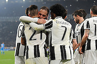 Calcio, semifinale di andata di Tim Cup: Juventus vs Napoli. Torino, Juventus Stadium, 28 febbraio 2017.<br /> Juventus&rsquo; Paulo Dybala, left, celebrates with teammates after scoringduring the Italian Cup semifinal first leg football match between Juventus and Napoli at Turin's Juventus stadium, 28 February 2017.<br /> UPDATE IMAGES PRESS/Manuela Viganti