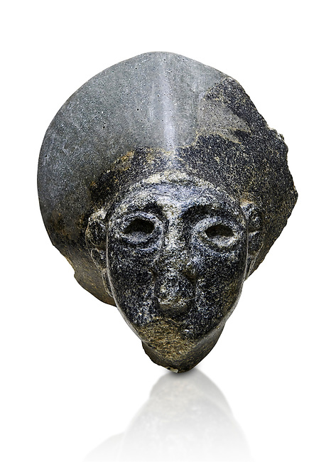 Hittite statue head of the Sun Goddess . Basalt, Hittie Period 1650 - 1450 BC. Hattusa Boğazkale. Çorum Archaeological Museum, Corum, Turkey. Against a white bacground.
