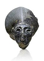 Hittite statue head of the Sun Goddess . Basalt, Hittie Period 1650 - 1450 BC. Hattusa Boğazkale. Çorum Archaeological Museum, Corum, Turkey. Against a white bacground.