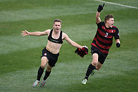 Chester, PA - Sunday December 10, 2017: Sam Werner celebrates scoring he game winning goal Stanford University defeated Indiana University 1-0 in double overtime during the NCAA 2017 Men's College Cup championship match at Talen Energy Stadium.