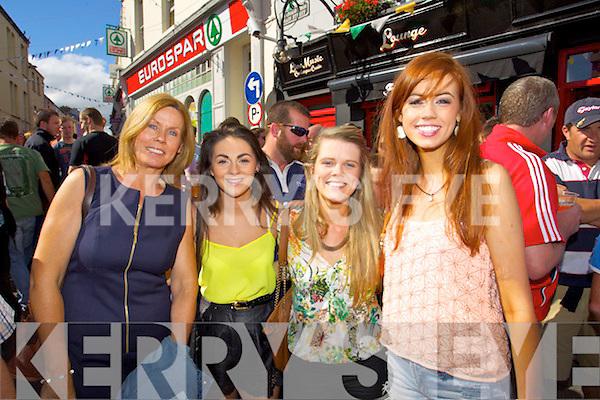 Breda O'Shea, Christina O'Sullivan, Amanda Langston and Clodagh O'Shea pictured at Puck Fair on Saturday.