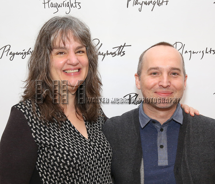 Pam MacKinnon and Jordan Harrison attends the photo call for Playwrights Horizons world premiere production of 'Log Cabin' on May 8, 2018 at Playwrights Horizons rehearsal hall in New York City.