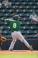Jonathan Johnson (8) of the Savannah Sand Gnats at bat against the Hickory Crawdads at L.P. Frans Stadium on June 14, 2015 in Hickory, North Carolina.  The Crawdads defeated the Sand Gnats 8-1.  (Brian Westerholt/Four Seam Images)
