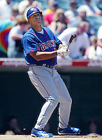 Vernon Wells of the Toronto Blue Jays bats during a 2002 MLB season game against the Los Angeles Angels at Angel Stadium, in Anaheim, California. (Larry Goren/Four Seam Images)