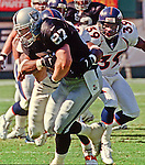 Oakland Raiders vs. Denver Broncos at Oakland Alameda County Coliseum Sunday, October 10, 1999.  Broncos beat Raiders  16-13.  Oakland Raiders tight end Jeremy Brigham (87).