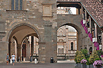 Piazza Vecchia in Bergamo, Italy with the Palazzo della Ragione and the Colleoni Chapel in the background