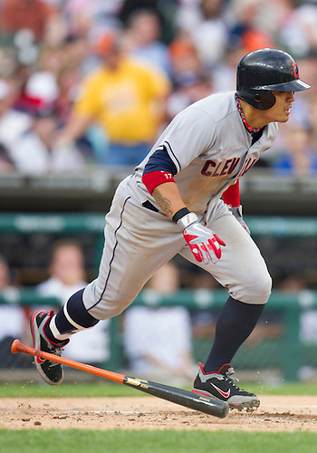June 06, 2012:  Cleveland Indians right fielder Shin-Soo Choo (17) runs to first base after hitting single during MLB game action between the Cleveland Indians and the Detroit Tigers at Comerica Park in Detroit, Michigan.  The Indians defeated the Tigers 9-6.