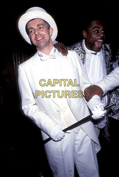 """NEIL TENNENT """" PET SHOP BOYS """".ref:403.half length, half-length, white suit, top hat.www.capitalpictures.com.sales@capitalpictures.com.©Capital Pictures"""