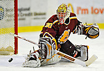 3 January 2009: Ferris State Bulldogs' goaltender Pat Nagle, a Sophomore from Bloomfield, MI, makes a save against the Colgate Raiders during the consolation game of the 2009 Catamount Cup Ice Hockey Tournament hosted by the University of Vermont at Gutterson Fieldhouse in Burlington, Vermont. The two teams battled to a 3-3 draw, with the Bulldogs winning a post-game shootout 2-1, thus placing them third in the tournament...Mandatory Photo Credit: Ed Wolfstein Photo