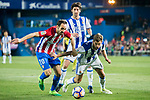 Inigo Martinez Berridi (r) of Real Sociedad competes for the ball with Juan Francisco Torres Belen, Juanfran (l), of Atletico de Madrid during their La Liga match between Atletico de Madrid vs Real Sociedad at the Vicente Calderon Stadium on 04 April 2017 in Madrid, Spain. Photo by Diego Gonzalez Souto / Power Sport Images