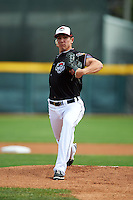 Erie Seawolves pitcher Chad Green (18) delivers a warmup pitch during a game against the Richmond Flying Squirrels on May 20, 2015 at Jerry Uht Park in Erie, Pennsylvania.  Erie defeated Richmond 5-2.  (Mike Janes/Four Seam Images)