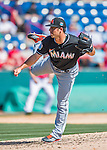 7 March 2016: Miami Marlins pitcher Kyle Barraclough on the mound during a Spring Training pre-season game against the Washington Nationals at Space Coast Stadium in Viera, Florida. The Nationals defeated the Marlins 7-4 in Grapefruit League play. Mandatory Credit: Ed Wolfstein Photo *** RAW (NEF) Image File Available ***
