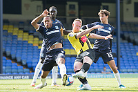 Mark Beck, Harrogate Town,  effort blocked by Shaun Hobson, Southend United, during Southend United vs Harrogate Town, Sky Bet EFL League 2 Football at Roots Hall on 12th September 2020